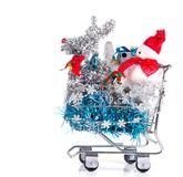 Christmas Shopping Cart Royalty Free Stock Images