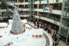 Christmas shopping celebration. An interior view of a shopping mall, in chennai india for christmas shopping, decorated with santha claus on a chariot with full Stock Photos