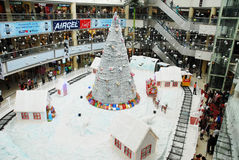 Christmas shopping celebration. An interior view of a shopping mall, in chennai india for christmas shopping, decorated with santha claus on a chariot with full Stock Image