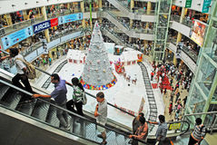 Christmas shopping celebration. An interior view of a shopping mall, in chennai india for christmas shopping, decorated with santha claus on a chariot with full Royalty Free Stock Photography