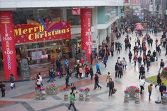 Christmas shopping in Chengdu stock image