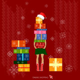 Christmas shopping christmas gifts holidays concept Royalty Free Stock Photo