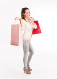 Christmas shopping cutie. Stock Photos