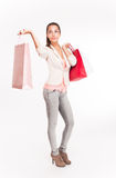 Christmas shopping cutie. Royalty Free Stock Images