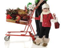 Christmas Shopping with Daddy Royalty Free Stock Image