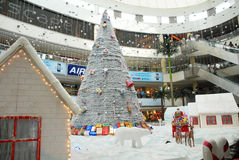 Christmas shopping decoration. An interior view of a shopping mall, in chennai india for christmas shopping, decorated with santha claus on a chariot with full Stock Image