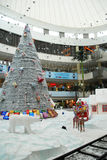 Christmas shopping decoration. An interior view of a shopping mall, in chennai india for christmas shopping, decorated with santha claus on a chariot with full Stock Images