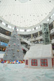Christmas shopping decoration. An interior view of a shopping mall, in chennai india for christmas shopping, decorated with santha claus on a chariot with full Stock Photo