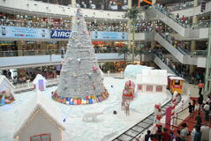 Christmas shopping decoration. An interior view of a shopping mall, in chennai india for christmas shopping, decorated with santha claus on a chariot with full Royalty Free Stock Images