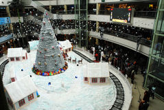 Christmas shopping decoration. An interior view of a shopping mall, in chennai india for christmas shopping, decorated with santha claus on a chariot with full Royalty Free Stock Photos