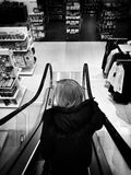 Christmas shopping frenzy. Artistic look in black and white. Royalty Free Stock Photography