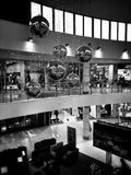 Christmas shopping frenzy. Artistic look in black and white. Stock Image