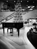Christmas shopping frenzy. Artistic look in black and white. Royalty Free Stock Photos