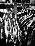 Christmas shopping frenzy. Artistic look in black and white. Royalty Free Stock Photo