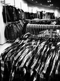 Christmas shopping frenzy. Artistic look in black and white. Stock Photo