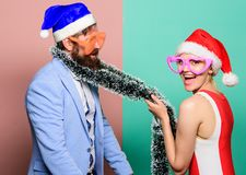 Christmas shopping. gifts. happy couple in santa claus hat. Family celebrating christmas. New year party. Merry