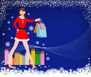 Christmas shopping girl Royalty Free Stock Photos
