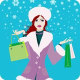 Christmas_shopping_girl Stock Afbeeldingen