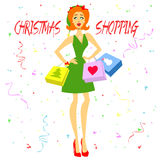 Christmas Shopping Girl Stock Image