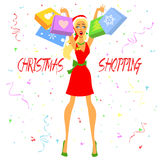 Christmas Shopping Girl Stock Images