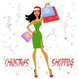 Christmas Shopping Girl Royalty Free Stock Photos