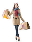 Christmas shopping girl holding bags Stock Image