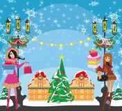 Christmas shopping. Girls, Vector Illustration royalty free illustration