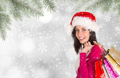 Christmas Shopping. Happy young girl with shopping bags. Stock Photos