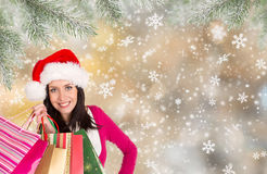 Christmas Shopping. Happy young girl with shopping bags. Stock Images