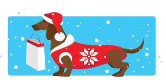 Christmas shopping helper. Vector illustration of a dressed dog holding shopping bag Royalty Free Stock Photography