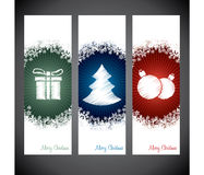 Christmas shopping label designs with symbols and snow Stock Photos