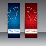 Christmas shopping labels with binder clip christmas trees Stock Images