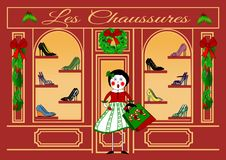 Christmas Shopping at Les Chaussures stock images