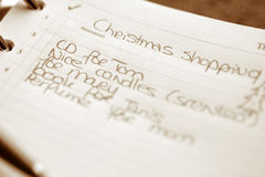 Christmas shopping list stock photography