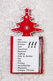 Christmas shopping list in german letters. Xmas organizer for gi Royalty Free Stock Image