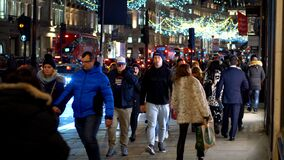 Christmas shopping in London - LONDON, ENGLAND - DECEMBER 11, 2019