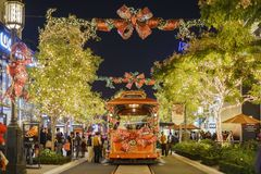 Christmas at shopping mall, Glendale Galleria. DEC 16, Glendale: Beautiful tram and Christmas lights at the shopping mall on DEC 16, 2017 at Glendale royalty free stock photo
