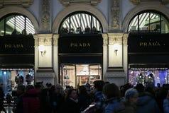 Christmas shopping in Milan, Italy - The shop windows of PRADA luxury boutique store in Galleria Vittorio Emanuele II stock image