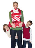 Christmas Shopping Mom and Kids Royalty Free Stock Image