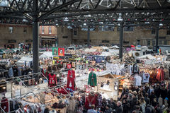 Christmas shopping at the Old Spitalfields market in London stock photos