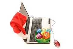 Christmas shopping online Stock Photography