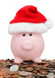 Christmas shopping piggy bank Royalty Free Stock Images
