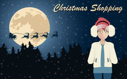 Christmas shopping poster. Flat vector illustration Royalty Free Stock Photo