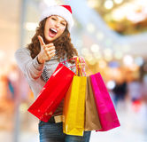 Christmas Shopping. Sales. Christmas Shopping. Girl With Bags in Shopping Mall stock photos