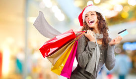 Christmas Shopping. Sales. Christmas Shopping. Girl With Credit Card In Shopping Mall. Sales royalty free stock photos