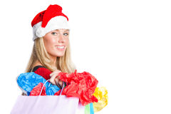 Christmas shopping santa girl Royalty Free Stock Photo