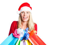 Christmas shopping santa girl Royalty Free Stock Image