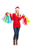 Christmas shopping santa girl Stock Photography