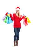Christmas shopping santa girl stock photography