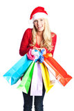Christmas shopping santa girl Stock Images